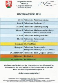 2016 Jahresprogramm